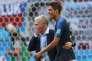 Avec Didier Deschamps, aprèsla victoire contre l'Argentine, samedi 30 juin 2018,à Kazan.
