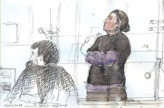 Dessin de l'audience du 4 juin 2018 à la cour d'appel de Paris montrant Christine Rivière, 52 ans.