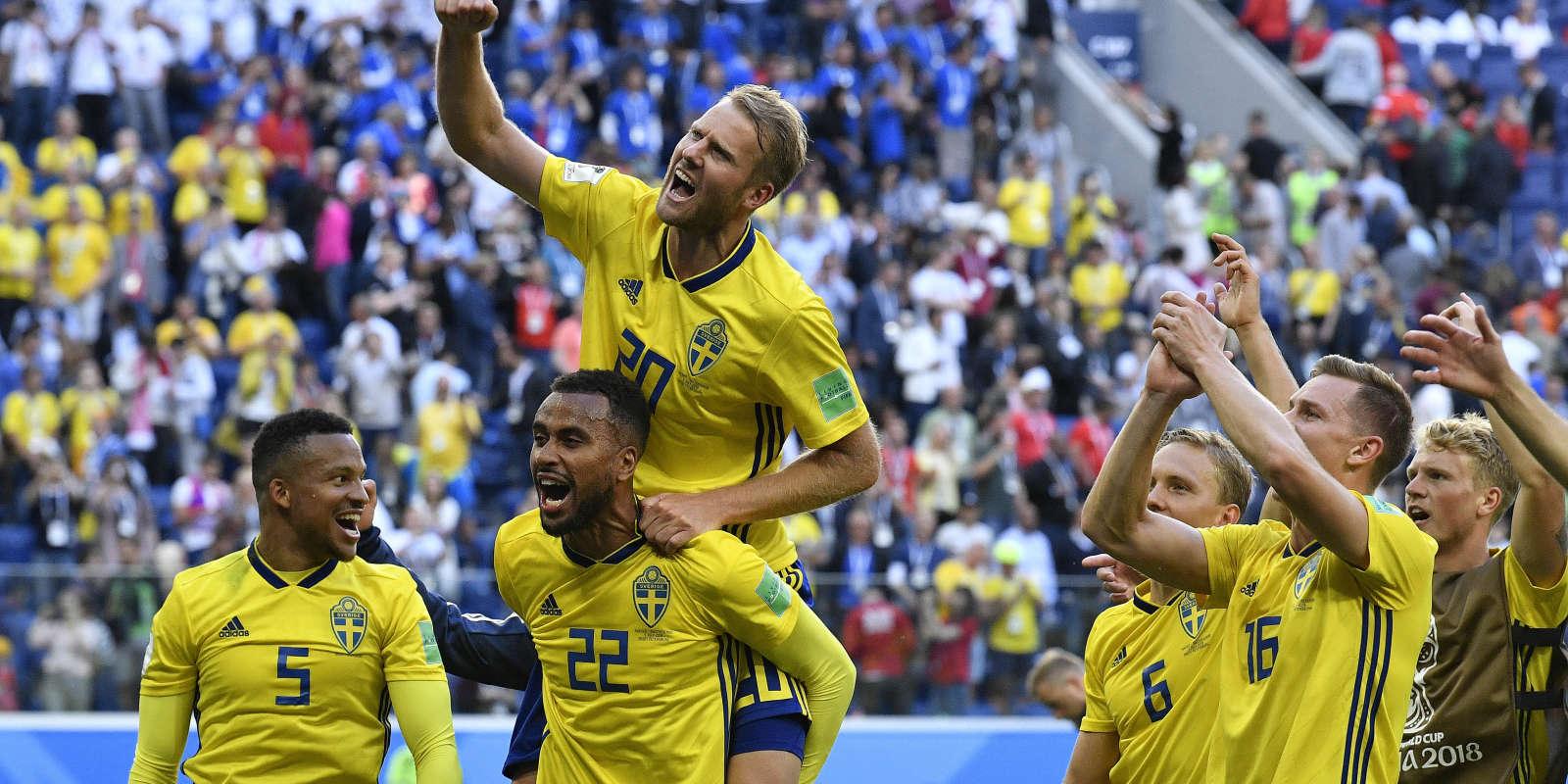 La joie des Suédois après leur qualification.