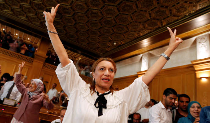 Souad Abderrahim après son élection comme maire de Tunis, le 3 juillet.