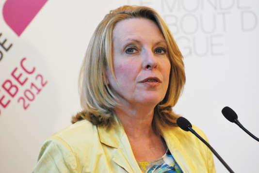 Christine St-PierreauForum mondial de la langue française, à Québec, en 2012.