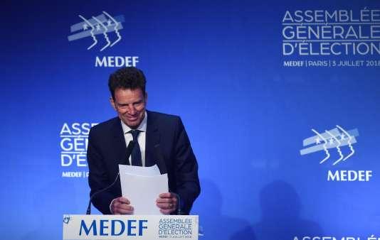 Le nouveau président du Medef, Geoffroy Roux de Bézieux, à Paris, le 3 juillet.