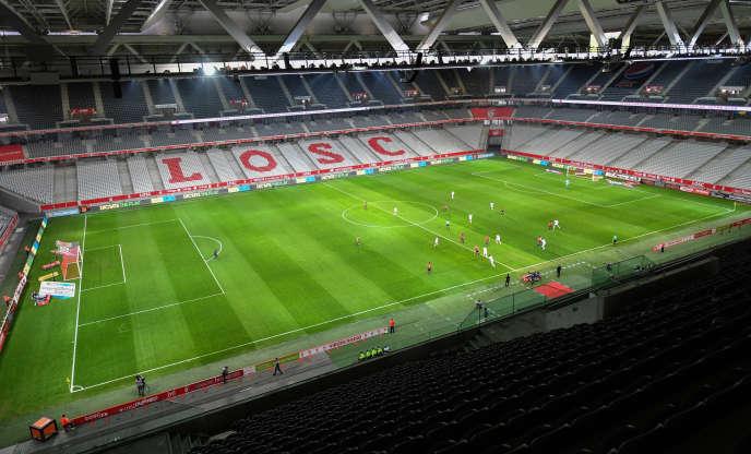 Lors d'un match à huis clos entre Lille et Amiens, le 1er avril 2018.