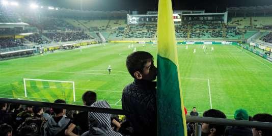 Les supporteurs de l'Anzhi Makhatchkala, le 7mai 2018, à l'Arena, lors de la rencontre perdue 0-2 face à l'Akhmat Grozny.