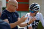 Cycling - Tour de France - Team Sky Training - near Cholet, France - July 4, 2018 - Team Sky manager Dave Brailsford is seen talking to Team Sky rider Chris Froome of Britain after training. REUTERS/Stephane Mahe