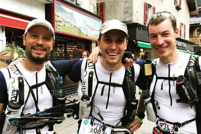Dr Jean-Charles Vauthier, entouré de Thierry Weber (à gauche), et de son frère Jean-Marc Vauthier. Le trio a parcouru 300 km en moins de six jours.