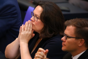 Andrea Nahles, la présidente du Parti social-démocrate allemand, le SPD, lors d'un débat au Bundestag, à Berlin, le 4 juillet 2018.