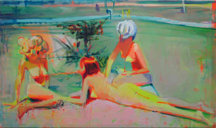 """«La pratique picturale de Nina Childress ne cesse de se renouveler et d'embrasser tous les modes de représentation. Entre humour et provocation, ses trois baigneuses nues semblent être une version """"déflagrante"""" des """"Trois Grâces"""" peintes par Picasso sur les murs de la villa La Mimoseraie à Biarritz, durant l'été 1918.»"""