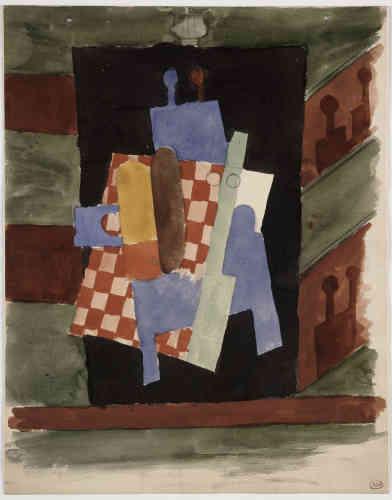 """«Tout spectacle est pour Picasso un défi et une source d'inspiration. Le music-hall, le cabaret, le théâtre, le cirque et la danse ont fortement contribué à son évolution artistique. En 1917, il réalise le rideau de scène, les décors et les costumes de """"Parade"""", une commande des Ballets russes et de Serge de Diaghilev, sur un poème de Cocteau et une musique de Satie. C'est à cette occasion qu'il rencontre Olga Kokhlova, danseuse des Ballets russes.»"""
