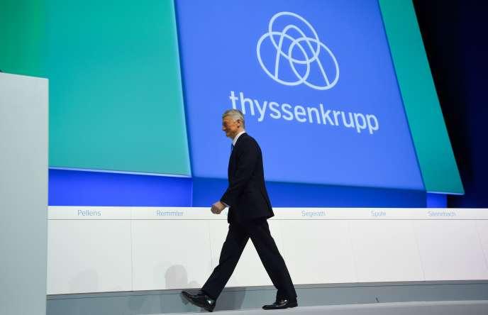Le président du directoire de ThyssenKrupp Heinrich Hiesinger (ici à Bochum, en Allemagne, le 19 janvier 2018) a annoncé sa démission le 5 juillet 2018.