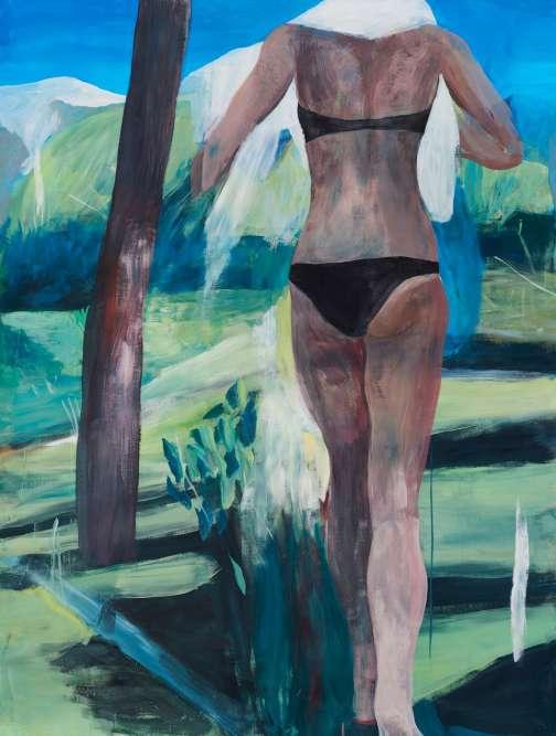 """«La """"baigneuse"""" de Marc Desgrandchamps évolue dans un univers troublant. La fluidité des couleurs et les contours tempérés contribuent à donner aux formes une improbable matérialité. Les éléments figuratifs juxtaposés semblent comme mystérieusement insaisissables dans l'espace pictural. Ils instaurent ainsi le questionnement dans l'esprit du spectateur.»"""