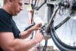 Câblage d'un moteur de vélo à assitance électrique chez Moustache Bikes à l'usine de Golbey (Vosges) en 2017