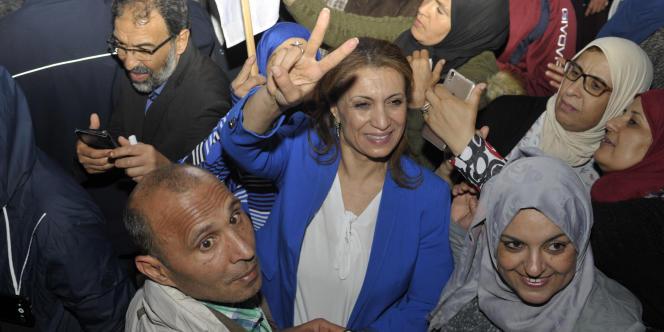 Souad Abderrahim après la victoire d'Ennahda aux municipales à Tunis, le 6 mai 2018.