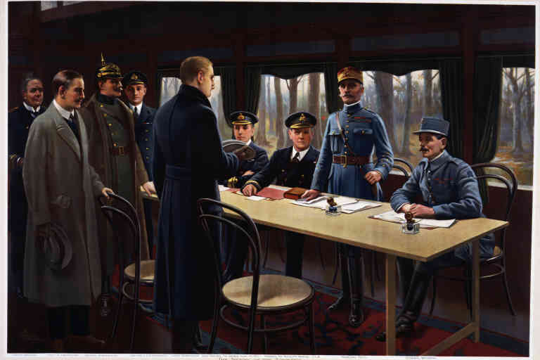 Armistice signe entre l'Allemagne et les allies dans la foret de Compiegne, le 11 nov. 1918 - Signing of the armistice in the railway carriage at Compiegne, November 11, 1918, the German Secretary of State Matthias Erzberger (1875-1921) and the French general Ferdinand Foch (1851-1929) standing in the centre, print. First World War, France, 20th century --- Firma dell'armistizio nel vagone ferroviario a Compiegne, 11 novembre 1918, al centro in piedi il segretario di Stato tedesco Matthias Erzberger (1875-1921) e il generale francese Ferdinand Foch (1851-1929), stampa. Prima guerra mondiale, Francia, XX secolo, Paris, Musee D'Histoire Contemporaine (History Museum), Hotel Des Invalides ©DeAgostini/Leemage