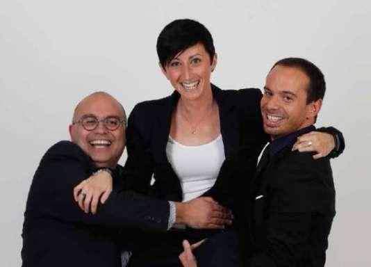 Yoann Riou, Candice Rolland etRaphaël Sebaoun, le trio de commentateurs de« La Grande Soirée» sur la chaîne l'Equipe.