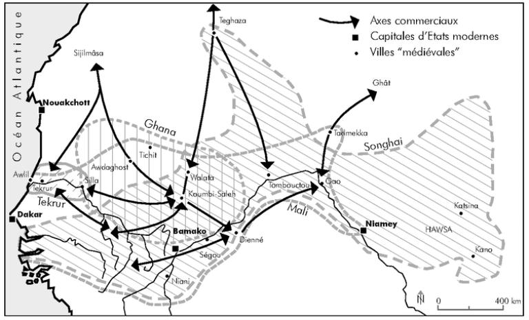 Le Soudan occidental (VIIIᵉ-XVIᵉ siècle), issu de « Les Territoires du médiéviste», de Benoît Cursente et Mireille Mousnier (Presses universitaires de Rennes, 2005).
