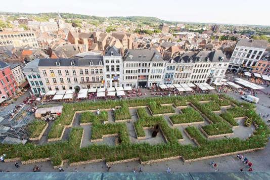 « Sun City », l'installation imaginée par Fanny Bouyagui/Art Point M, un labyrinthe géant de fleurs, ici en 2015 à Mons, en Belgique.