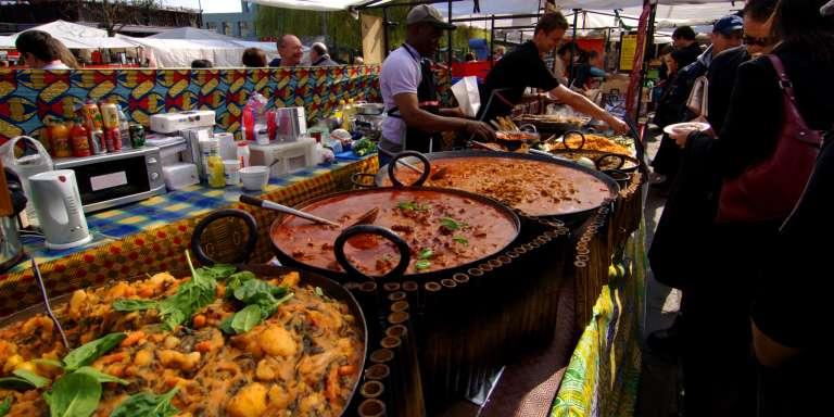 Stand de nourriture ouest-africaine à Camden Town, à Londres, en 2009.