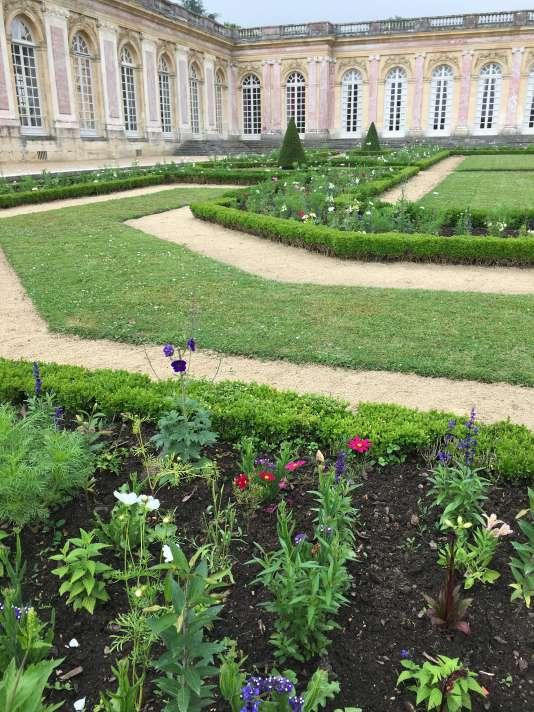 Le fleurissement des parterresa été directement inspiré par la«Vue du Grand Trianon prise des parterres, avec Flore et Zéphyr».