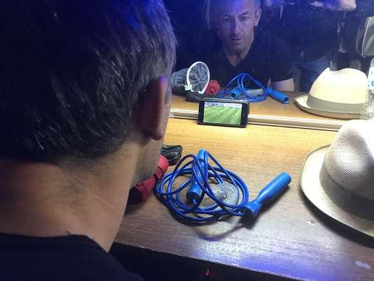 Gaël Leiblang, dans sa loge pendant le match France-Uruguay à Avignon,vendredi 6 juillet.