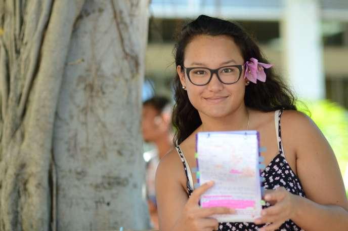 Ranitea Gobrait– ici le 6 juillet 2018– a obtenu une moyenne de 20,32 au baccalauréat.
