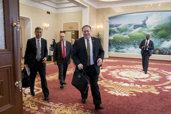 Le secrétaire d'Etat américain Mike Pompeo, le 7 juillet à Pyongyang.