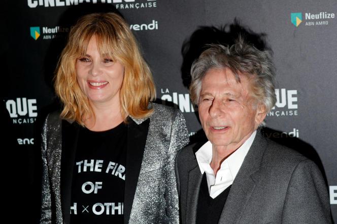 Emmanuelle Seigner et son mari Roman Polanski à la projection du film «D'après une histoire vraie», à la Cinémathèque de Paris, le 30octobre 2017.