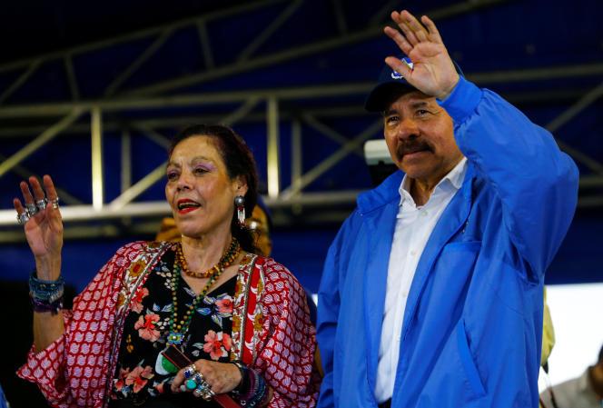 Le président du Nicaragua, Daniel Ortega et son épouse, la vice-présidente Rosario Murillo, à Managua (Nicaragua), le 7 juillet 2018.