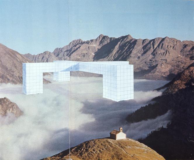 «Un lago di nuvole tra eterne montagne» («Un lac de nuages parmi les montagnes éternelles», dessin, photomontage, 1969), du projet « Monumento continuo » de Superstudio.