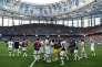 A l'issue du quart de finale contre l'Uruguay, le 6 juillet, au stade de Nijni Novgorod.
