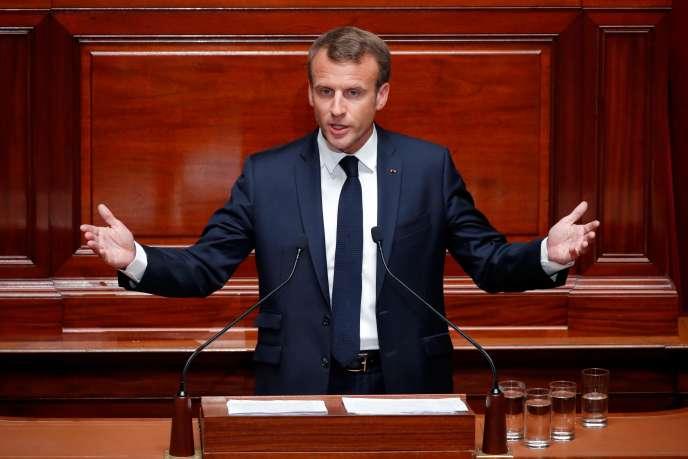 Le président, Emmanuel Macron, devant les parlementaires réunis en Congrès, le 9juillet 2018, à Versailles.