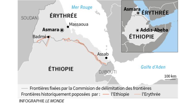 Mappa dell'Eritrea e dell'Etiopia. Credits to: Le Monde.