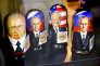 Des poupées russes représentant Donald Trump et Vladimir Poutine dans une vitrine à Helsinki, le 9 juillet 2018.
