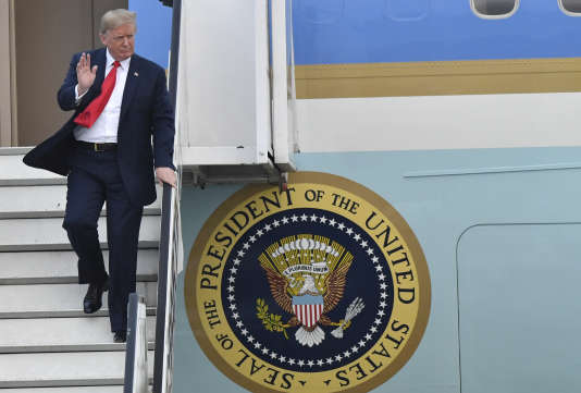 Donald Trump à son arrivée à la base aérienne de Melsbroek, en Belgique, le 10 juillet.