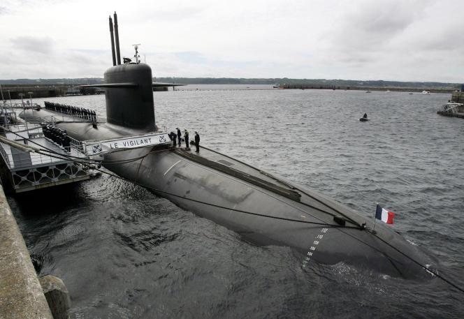 Le sous-marin« Le Vigilant» à la base militaire de L'île Longue (Finistère), en 2007.