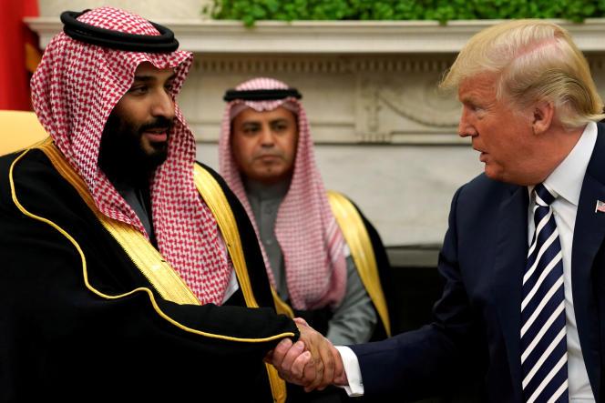 Le prince héritier d'Arabie saoudite, Mohammed Ben Salman, et le président des Etats-Unis, Donald Trump, à Washington, le 20 mars.