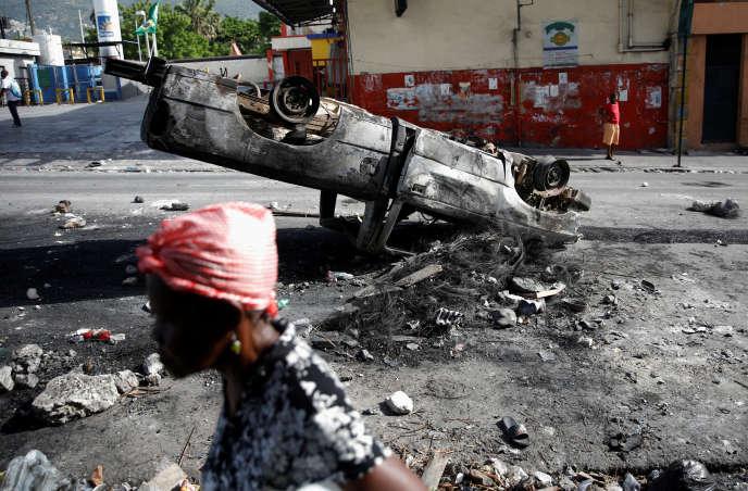 Dans une rue de Port-au-Prince, à Haïti, le 8 juillet.