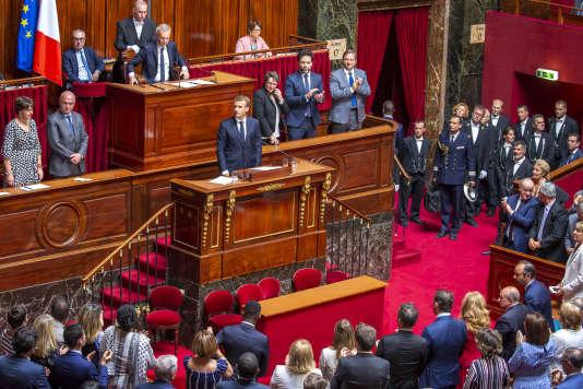 Emmanuel Macron lors de sa déclaration au Parlement réuni en Congrès à Versailles, le9juillet.