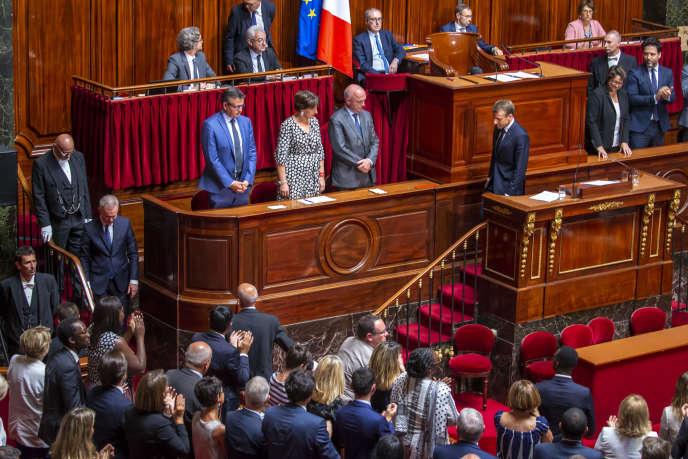 Le président Emmanuel Macron s'adresse au Congrès à Versailles, le 9 juillet.