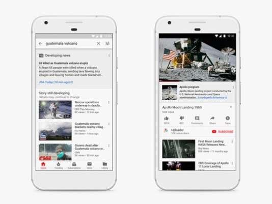 Exemple de lien affiché sur YouTube durant un événement d'actualité.