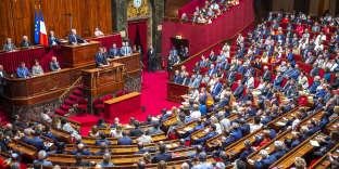 Emmanuel Macron face au Congrès, à Versailles le 9 juillet.