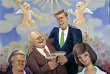 « L'Age d'or », de Madeleine Luka (huile sur panneau, 1962). On y voit trinquer Kennedy, Khrouchtchev et leurs épouses respectives.