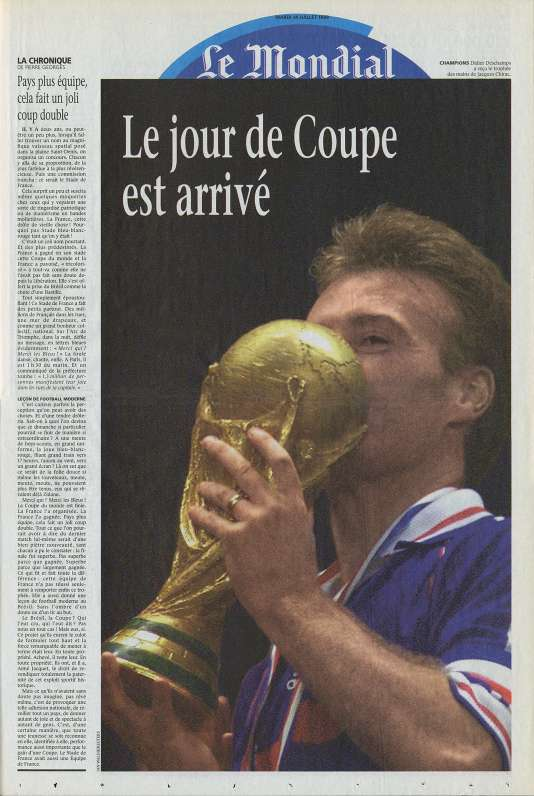 «Une»du supplément Mondial du « Monde», le 14 juillet 1998.