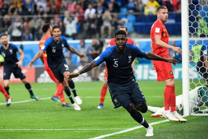 Samuel Umtiti après son but face à la Belgique mardi 10 juillet.
