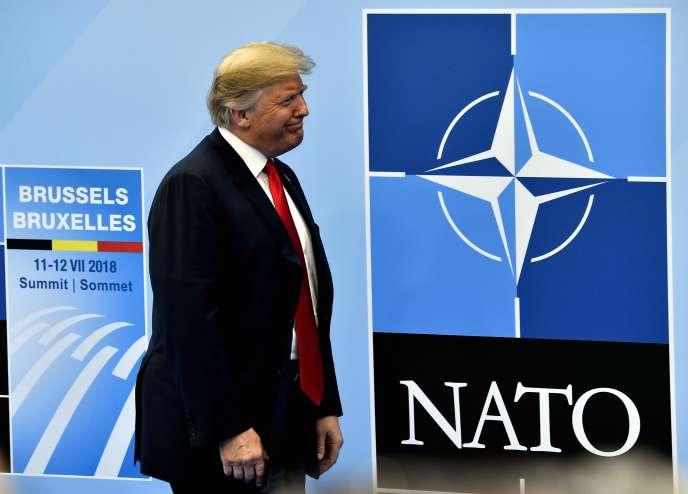 Le président des Etats-Unis, Donald Trump, au siège de l'OTAN, à Bruxelles, mecredi11juillet.