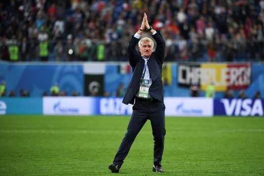 Didier Deschamps après la victoire des Bleus contre les Diables Rouges, à Saint-Pétersbourg le 10 juillet.