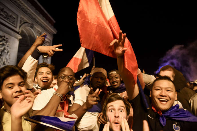 Le 10 juillet 2018 à Paris : la fête après le match France-Belgique.