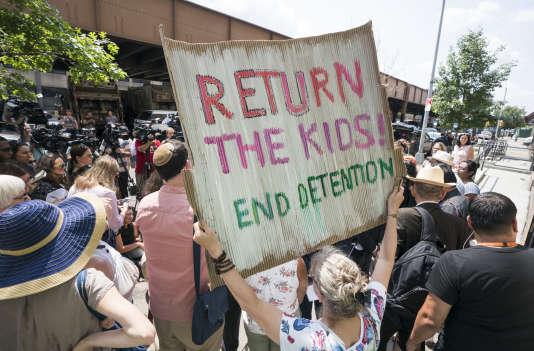 Une manifestation contre la séparation des familles de migrants, à New York, le11juillet 2018.