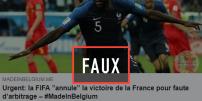 Un article très partagé sur les réseaux sociaux affirme que la victoire de la France en demi-finale pourrait être annulée. Il n'en est rien.