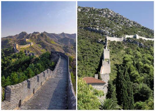A gauche, la Grande Muraille de Chine, construite sous la dynastie Ming et inscrite au Patrimoine mondial de l'Unesco ; à droite, la grande muraille d'Europe, située sur la presqu'île de Peljesac, en Croatie.
